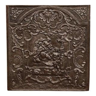 Large 18th Century French Louis XV Square Iron Fireback With Mythological Scene