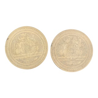 Balinese Etched Brass Plates - a Pair For Sale