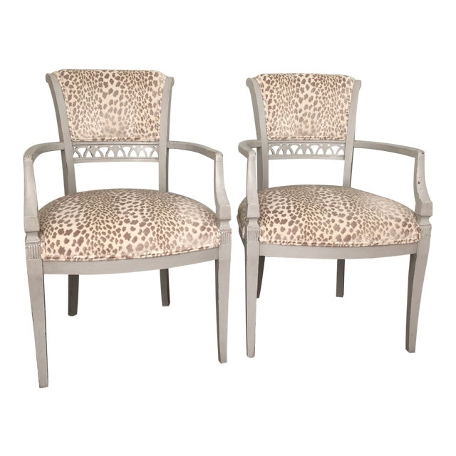 Cowtan & Tout Velvet Leopard Upholstered Gray Arm Side Chairs - a Pair For Sale