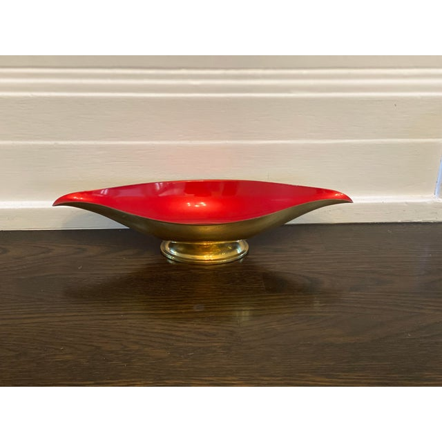 Mid Century Modern Red Brass and Enamel Candy Dish For Sale - Image 4 of 4