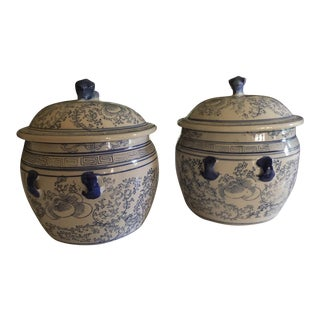 Vintage Lidded Chinese Porcelain Ginger Jars Blue and White - a Pair For Sale