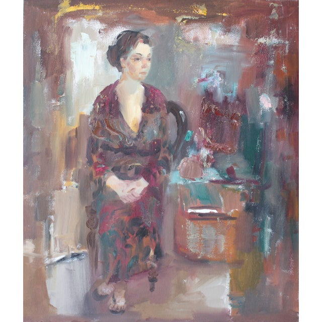 """Sitting Woman"" Original Oil Painting - Image 1 of 2"