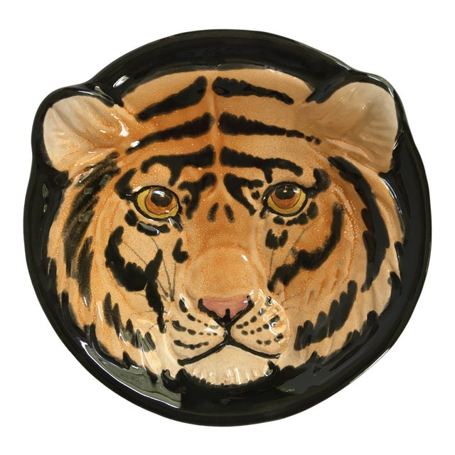 Vintage Mid-Century Italian Pottery Tiger Bowl For Sale