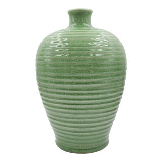 Mid Century Japanese Chinese Celadon Green Crackled Ceramic Vase Meiping Plum Ribbed Asian Antique For Sale