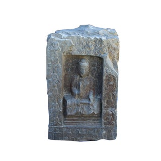 Chinese Distressed Gray Stone Carved 4 Sides Buddhas Display Statue