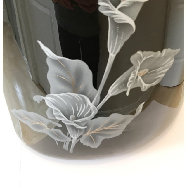 1980s 1980s Large Art Deco Black Floral Ceramic Table Lamp For Sale - Image 5 of 6