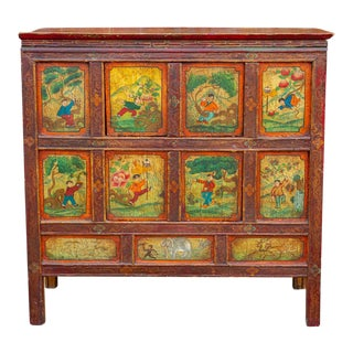 Delightful Antique Tibetan Folk Buffet For Sale