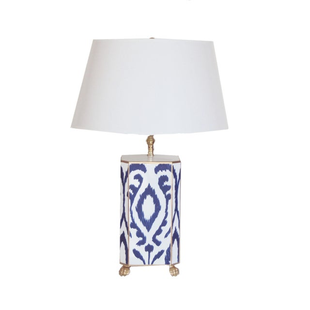 Navy and White Ikat Lamp For Sale