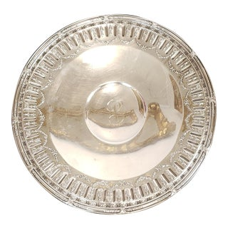 "Sterling Silver Gorham Marie Antoinette Pattern 11"" Footed Round Centerpiece Tray 17.40 Toz 1950s For Sale"