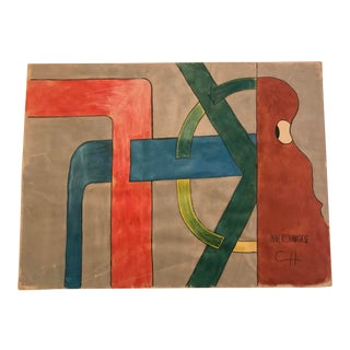 "1975 Charles Hammond Mixed Media on Paper, ""Innerchanges"" For Sale"