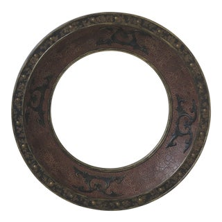 Round Decorative Textured Leather Mirror For Sale