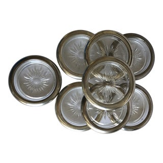 Vintage Leonard Italy Silver Plate & Glass Coasters S/8 For Sale