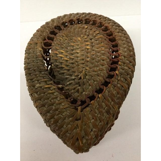 1930s Boho Chic Lidded Teardrop Shaped Basket For Sale - Image 12 of 13