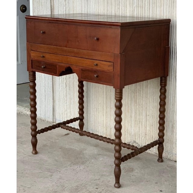 1920s 19th Rosewood Art Deco Open Up Vanity or Secretary Desk. Dressing Table For Sale - Image 5 of 11