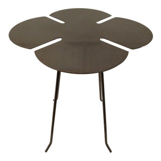 Cut Stainless Steel, Clover Accent Table, Vintage For Sale