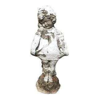 Vintage Concrete Girl Garden Statue For Sale