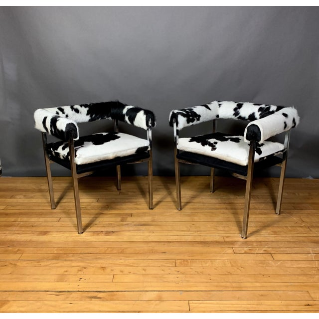 American Modern 1960s Chrome & Hide Rollback Armchair For Sale - Image 11 of 11