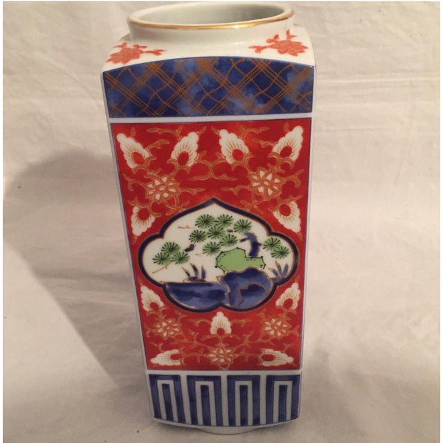 Contemporary Japanese Imari Porcelain Column Vase For Sale - Image 4 of 7