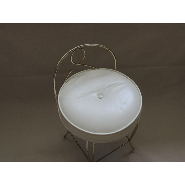 Art Deco Vintage Round Brass Art Deco Vanity Stool With Upholstered Seat For Sale - Image 3 of 4