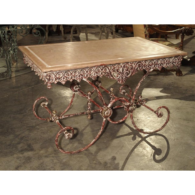 French Iron and Marble Pastry Table For Sale - Image 13 of 13