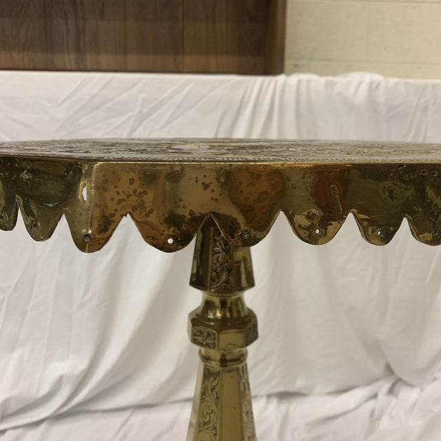 Brass Solid Brass Pedestal Occasional Table For Sale - Image 8 of 13