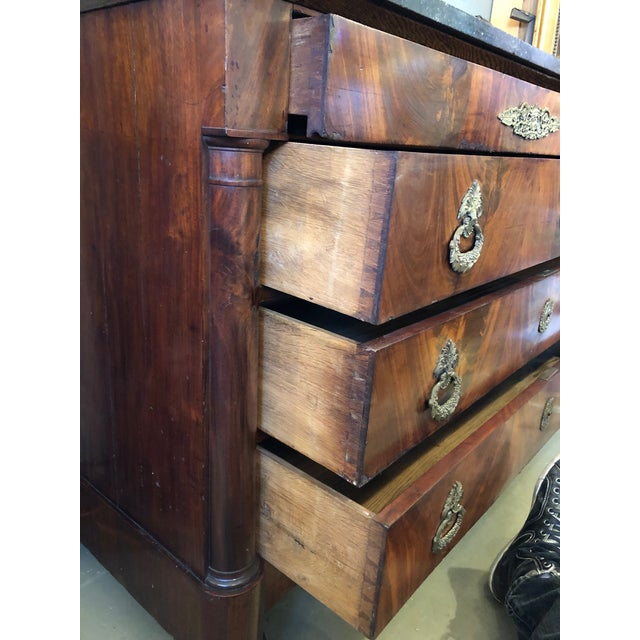 19th Century French Flame Mahogany Chest of Drawers With Bronze Ormolu For Sale - Image 10 of 11