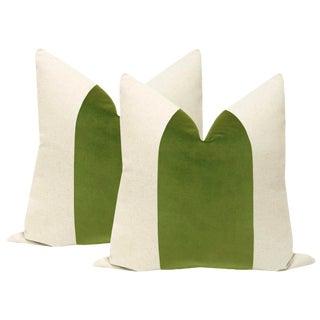 "22"" Meadow Velvet Panel & Linen Pillows - a Pair For Sale"