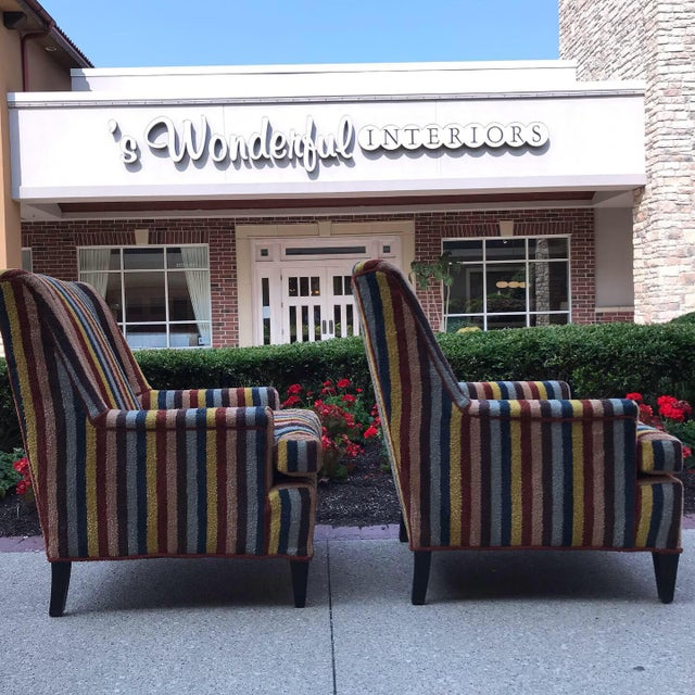 Vintage Century Furniture Kravet Vespa Multi Color Stripe Club Chairs - a Pair For Sale - Image 6 of 13