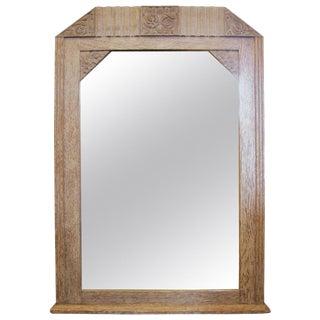 Original French Art Deco Cerused Oak Mirror For Sale