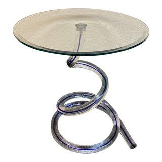 Roche Bobois Ghibli Murano Glass Blue Vein Side Table For Sale