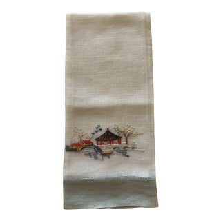Oriental Vintage Linen Embroidered Guest Towel For Sale