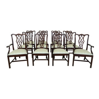 Henkel Harris 115 Carved Mahogany Dining Room Chairs - Set of 12 For Sale