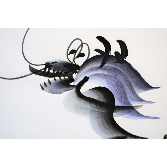 A contemporary calligraphy by a Chinese artist of a happy looking dragon. It's long body spans the entire length of the...