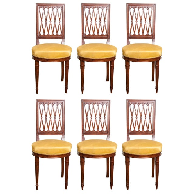 Vintage Mid Century Louis XVI Style Mahogany Side Chairs - Set of 8 For Sale - Image 10 of 10