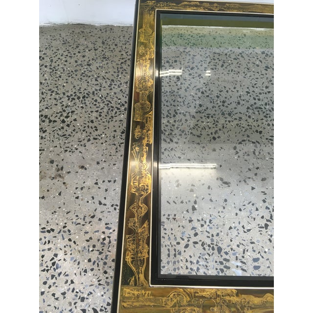 Brass Mastercraft Black Lacquer and Etched Brass Cocktail Table by Bernard Rohne For Sale - Image 7 of 10