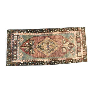 Vintage Ethnic Turkish Handmade Red and Gray Small Rug For Sale