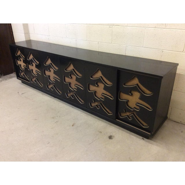 Asian Unusual Black Lacquer Asian Style Media Credenza Console For Sale - Image 3 of 11