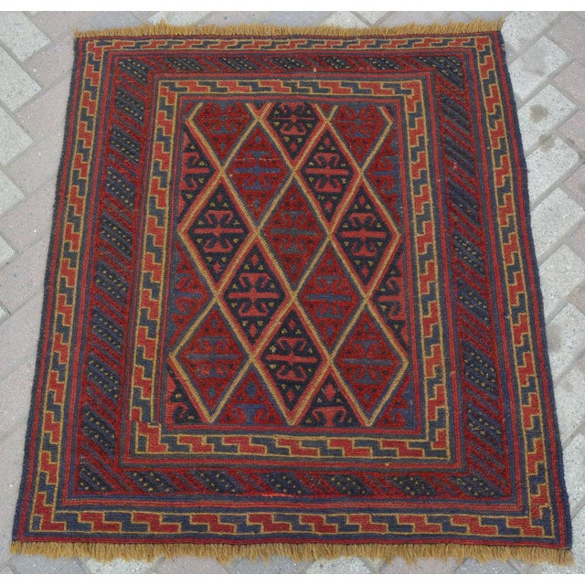 "Vintage Tribal Turkish Kilim Rug - 3'7"" x 4' For Sale - Image 5 of 5"