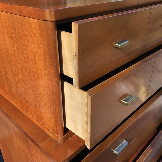 1960s Mid Century Modern Drexel Mahogany High Boy Dresser For Sale In New York - Image 6 of 10