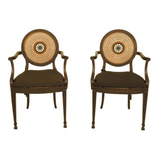 Adam Style Cane Back & Seat Arm Chairs - a Pair