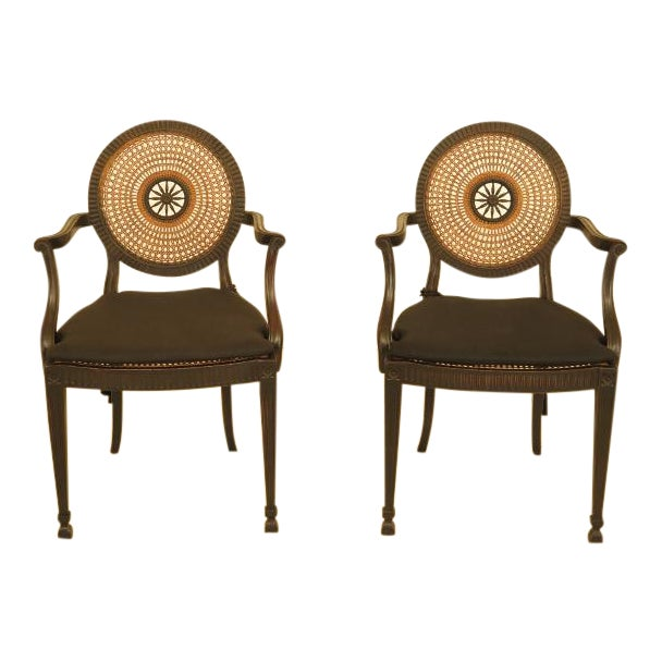 Adam Style Cane Back & Seat Arm Chairs - a Pair For Sale