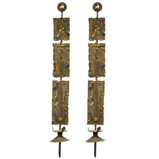 Pair of Brutalist Metal Sconces For Sale