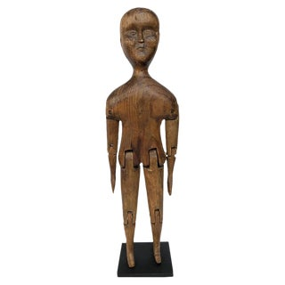 Antique 19th Century Folk Art Carved Articulated Wooden Figure For Sale
