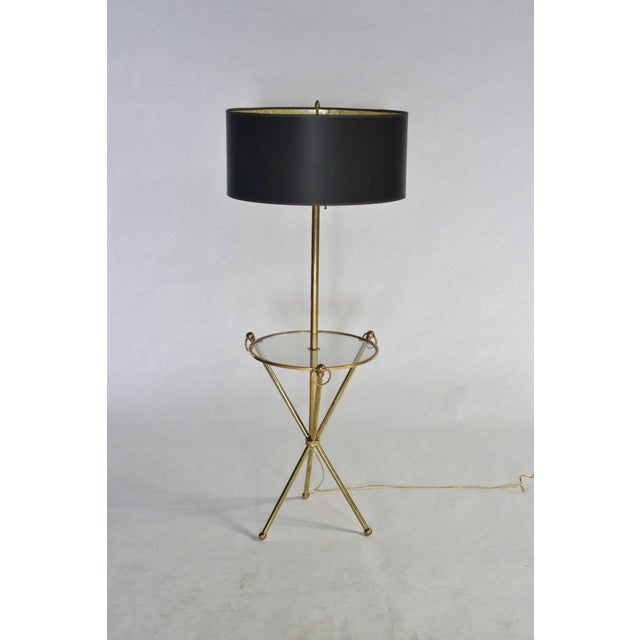 1960s Brass Tripod Floor Lamp with Custom Shade For Sale - Image 5 of 5