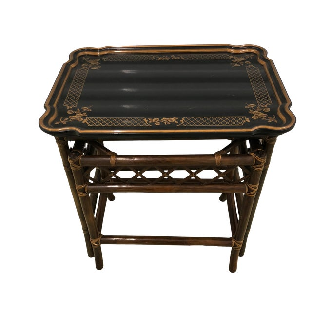 Baker Furniture Chinoiserie Faux Bamboo Nesting Tables - Set of 2 For Sale