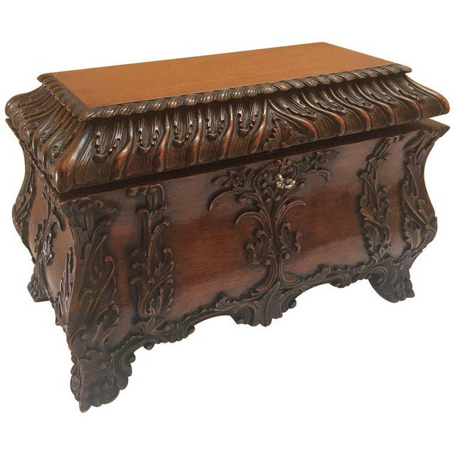 1990s Maitland-Smith Carved Mahogany Hinged Tea Caddy Box For Sale - Image 13 of 13