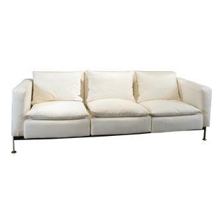 1960s Vintage Robert Haussmann for Hans Kaufeld Polished Steel Sofa For Sale