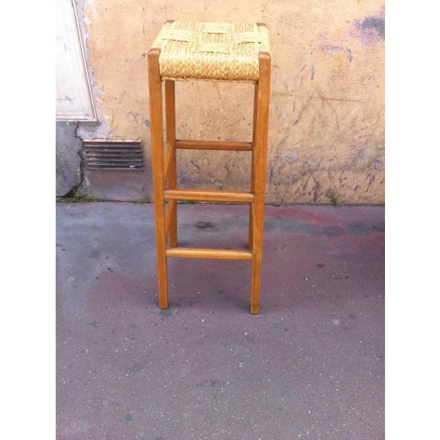 1950s Audoux-Minet Riviera Rarest Rush and Oak Bar With Two Bar Stools For Sale - Image 5 of 6