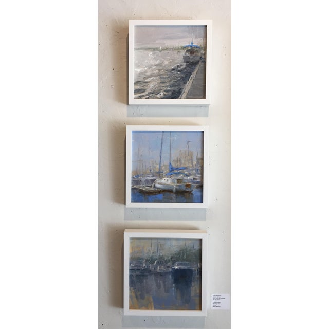 """Contemporary Beckham Framed Oil Painting """"Morning View"""", Contemporary Blue Seascape For Sale - Image 3 of 7"""