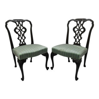 Antique Solid Mahogany Georgian Style Dining Chairs - A Pair